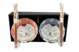 Set de 2 bols et baguettes - Chat